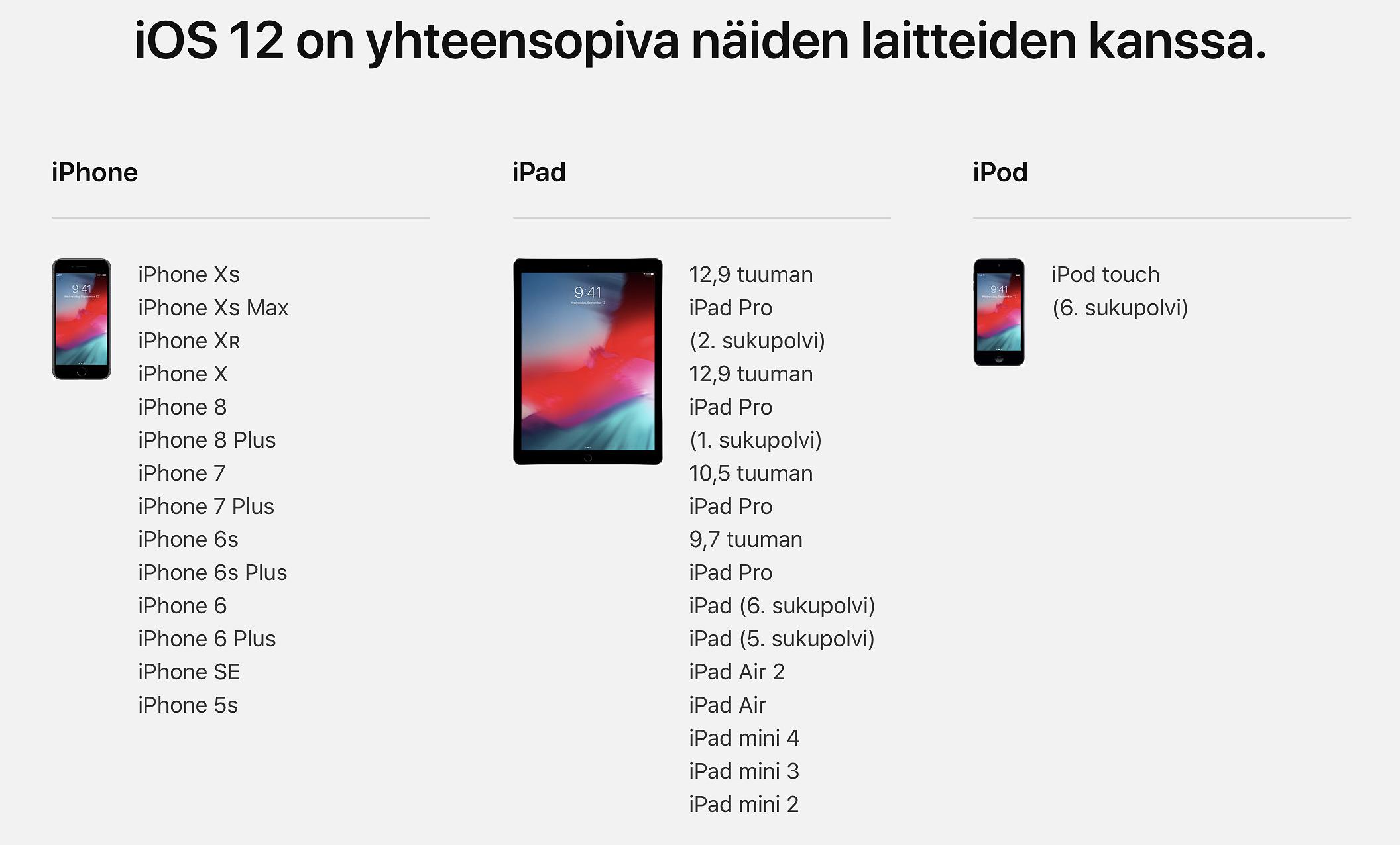 OS 12.3.1 -päivitys on saataville nykyisille iOS 12 -laitteille. Kuvassa iOS 12-laitteet, pois lukien kolmannen sukupolven iPad Pro -tabletit.