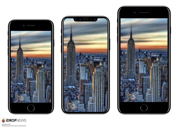 Tältä uuden iPhonen odotetaan laajasti näyttävän. iPhone 7:n ja iPhone 7 Plussan välissä huhuttu uusi huippu-iPhone iDrop Newsin aiemmin julkaisemassa kuvassa.
