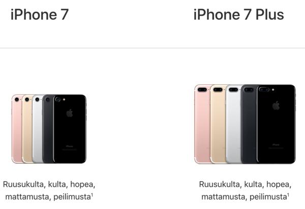 iPhone 7 -värivaihtoehdot.
