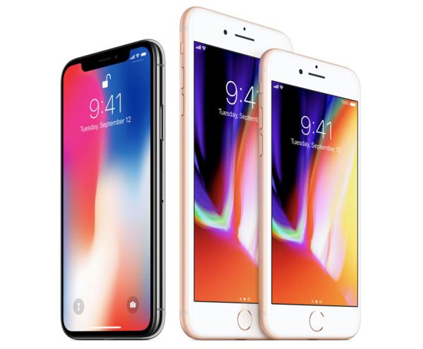 iPhone X ja iPhone 8 sekä iPhone 8 Plus.