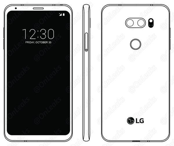 Kuva LG V30:n ohjekirjasta. Kuvan julkaisi OnLeaks.