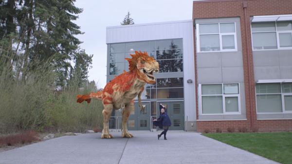 Microsoft Story Remixillä voi videoo lisätä vaikkapa dinosauruksen.