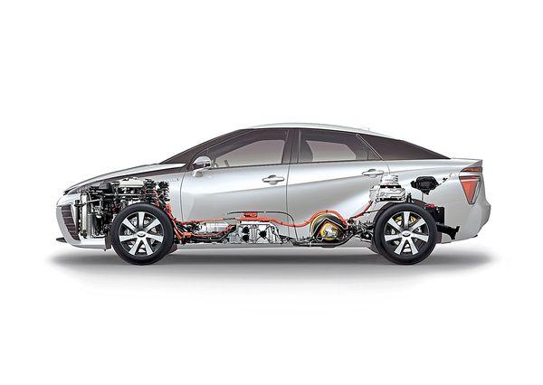 (1.) Molemmat viiden litran vetysäiliöt on valmistettu hiilikuituvahvisteisesta muovista. Tämä vety syötetään polttokennoon (2.) yhdessä ilmanottoaukkojen kautta johdetun hapen kanssa, jolloin kemiallisessa reaktiossa syntyy energiaa ja vettä. Kun auton liikuttamiseen tarvittava energian tarve on vähäinen, sähkö otetaan 1,3 kilowattitunnin nikkelimetallihydridiakusta (3.). Sähkömoottori (4.) sekä portaaton vaihteisto (5.) sijaitsevat molemmat konepellin alla.