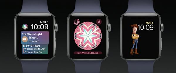 Uudet kellotaulut vasemmalta oikealle: Siri, Kaleidoskooppi ja Toy Story.