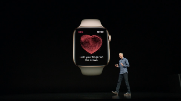 Apple Watch Series 4:ssä on EKG-mittari.