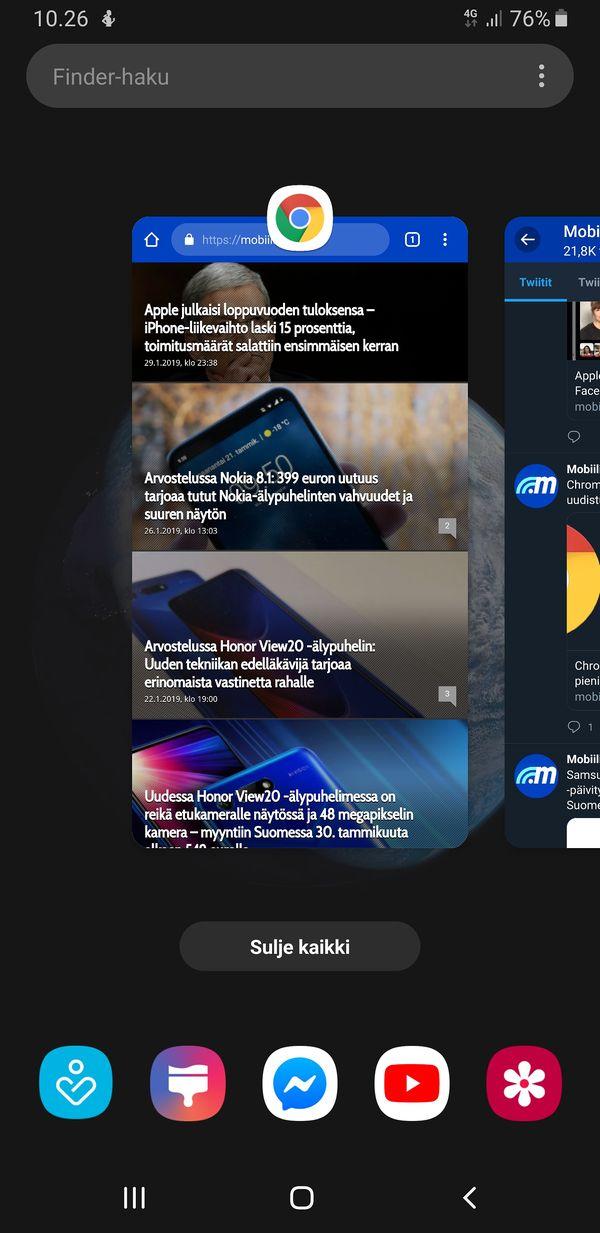One UI:n moniajonäkymä on pitkälti samanlainen kuin perus-Androidissa.