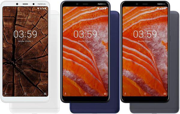 Nokia 3.1 Plussan värivaihtoehdot.