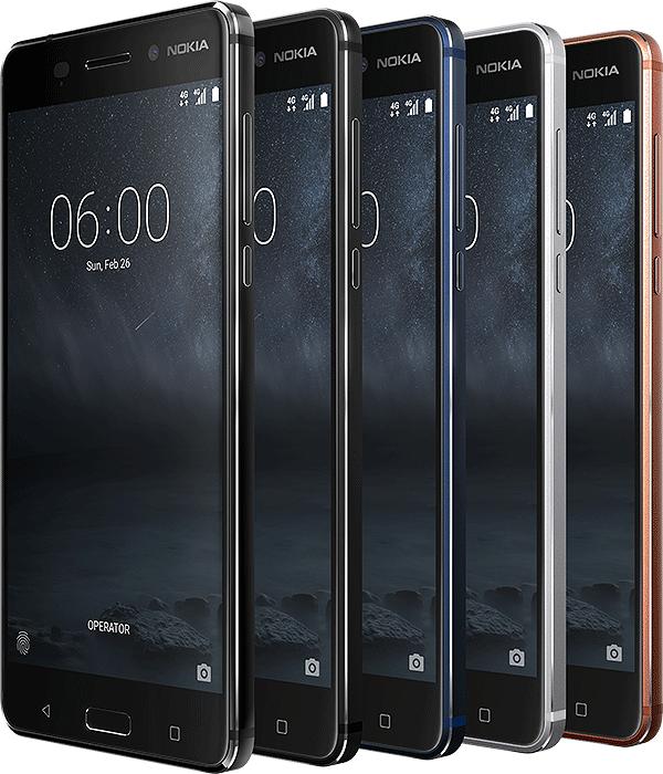 Nokia 6:n eri värivaihtoehdot.