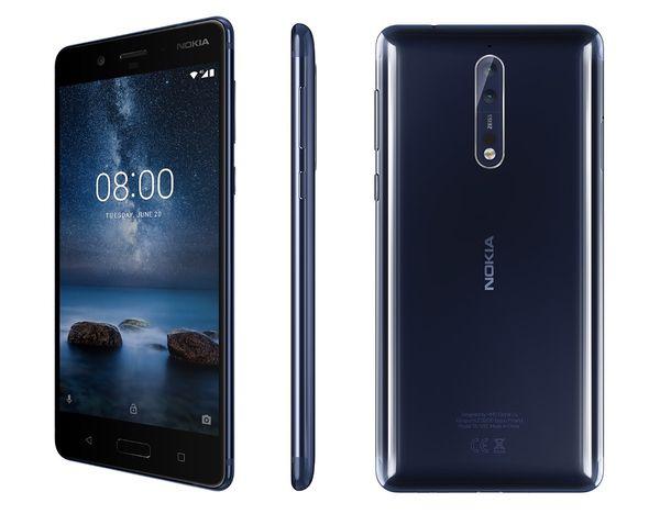 Uusi kiillotettu sininen Nokia 8.