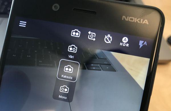 Kamerasovelluksessa voi valita käytettävät takakamerat.