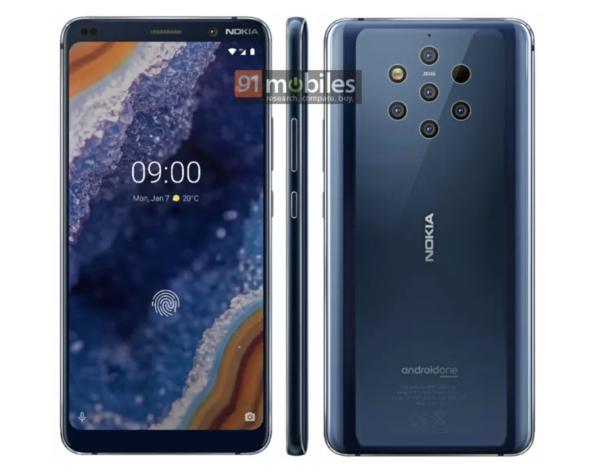 Etupuolella Nokia 9 PureView'ssä on loveton näyttö. Reunukset ovat nykymittapuulla melko suuret. Kuva: 91mobiles.