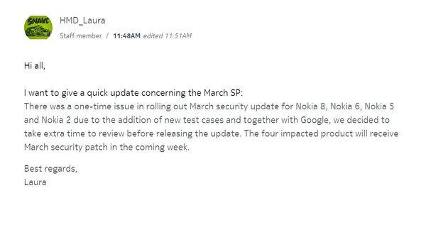 HMD Globalin kommentti viivästyneeseen päivitykseen.