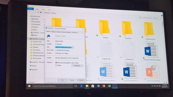 Files On-Demandin avulla tietokoneen tallennustilaa kuluu vain muutamia megatavuja, vaikka tiedostoja on gigatavujen edestä.