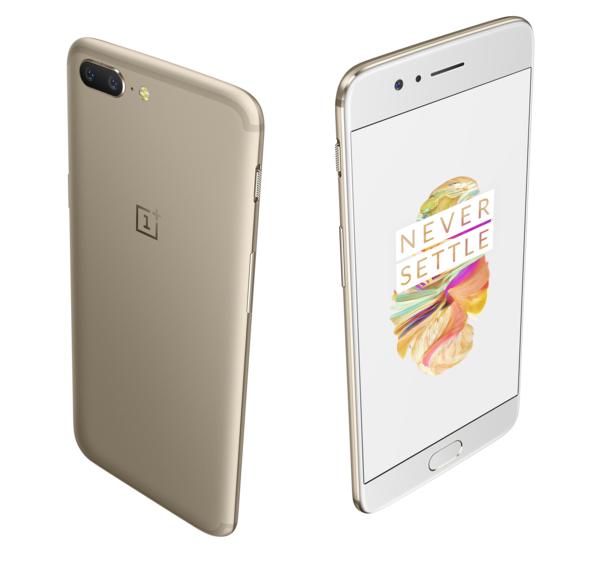 OnePlus 5 Soft Gold on edestä valkoinen.