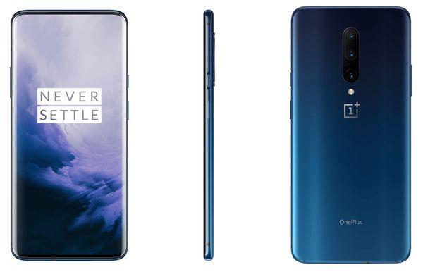 OnePlus 7 Pro sinisenä Nebula Blue -liukuvärinä. Kuva: Android Central / Ishan Agarwal.