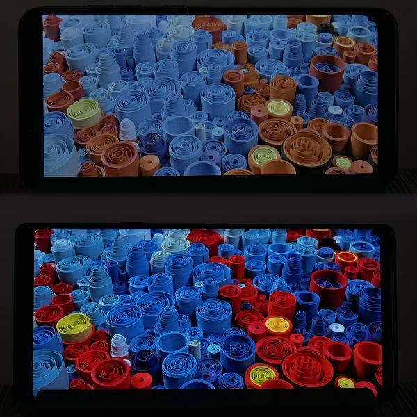 Ero Pocophone F1:n ja Galaxy Note9:n näyttöjen värientoistossa on todella suuri.