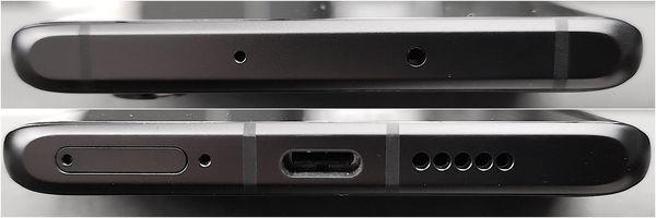 Huawei P30 Pron ylä- ja alapääty ovat tasaisia.