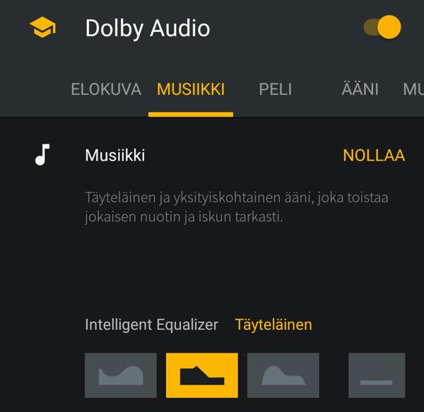 Dolby Audio -sovellus mahdollistaa äänimaailman muokkaamisen oman mielen mukaan.