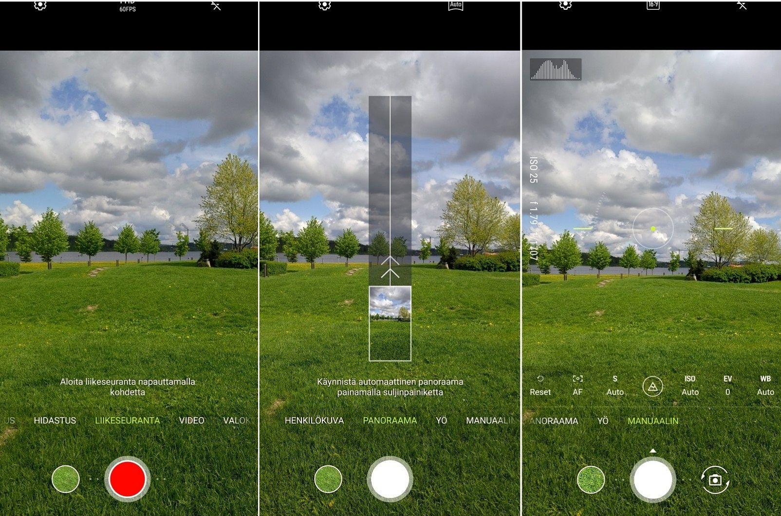 Kameran käyttöliittymä on helppokäyttöinen ja opastaa kuvaajaa. Myös manuaalitila on monipuolinen.