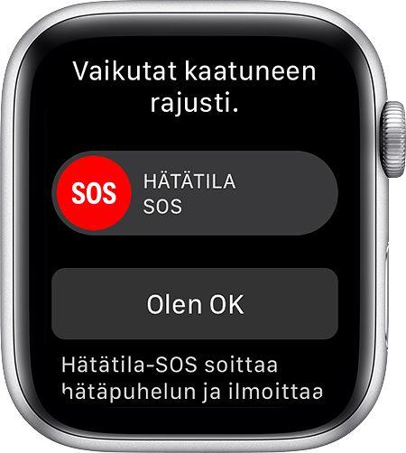Näin Apple Watch reagoi havaittuaan kaatumisen.