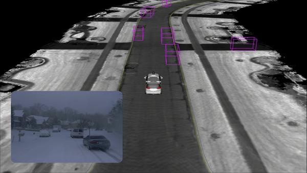 Robottiauto kykenee kuitenkin erottamaan tärkeät objektit, kuten autot, lumisateesta.