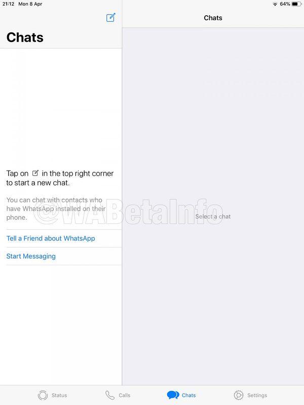 WhatsApp iPadille. Kuva: WABetaInfo.