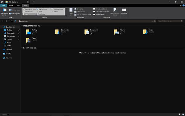 Windows 10:n resurssienhallinnan tumma teema.