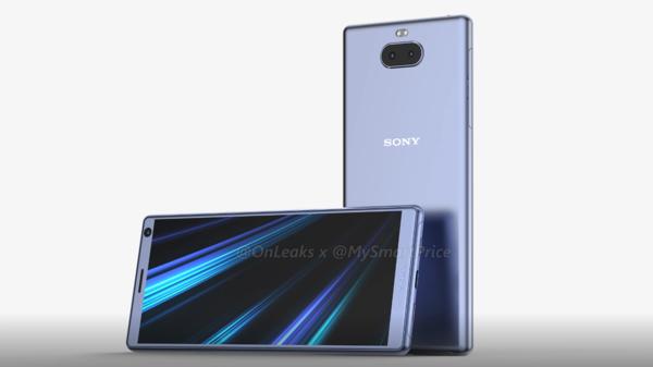 Sony Xperia XA3 OnLeaksin yhdessä MySmartPrice-sivuston kanssa julkaisemassa kuvassa.