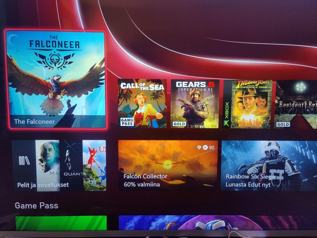 Xbox Series valikkonäkymä
